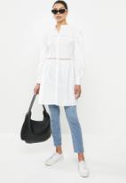 edit - Lace inset longline shirt - milk white