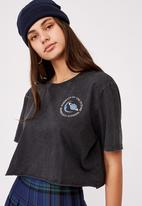 Factorie - Short sleeve raw edge crop graphic T-shirt -  washed black