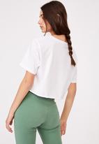 Factorie - Short sleeve raw edge crop graphic T-shirt - white