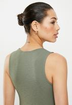 edit - High neck vest - fatigue green