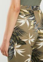 edit - Satin wide leg pant - olive print