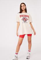 Factorie - Super relaxed graphic tee - washed ivory