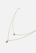 Rubi - Luxe layers butterfly tag layered necklace - gold