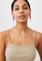 Rubi - Luxe layers layered butterfly necklace - silver