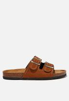 Cotton On - Rex embellished double buckle slide - tobacco studded rough micro