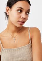 Rubi - Treasures short pendant necklace  - gold cherub
