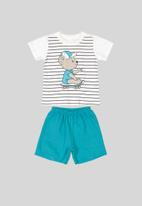 Bee Loop - Sweat shorts & tee set - off white & blue