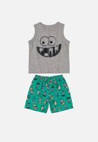 Bee Loop - Tank top & bermuda set - grey & green