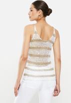 Sissy Boy - Vamo: stripe lurex vest - white & gold