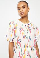 edit - Puff sleeve tiered midi dress - multi