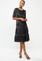 edit - Satin tiered midi dress - black