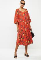 edit - Chiffon gypsy midi floral - red