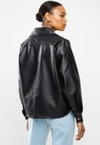 Missguided - Balloon sleeve buckle detail biker - black