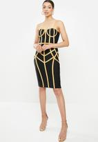 Sissy Boy - Bari: bandage contrast dress with cups - black & gold