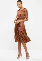 edit - Satin tiered midi dress - bronze