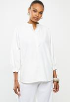 edit - Linen & cotton blend blouson slv shirt - milk