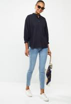 edit - Linen & cotton blend blouson slv shirt - navy