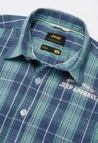 JEEP - Simon short sleeve check shirt - blue