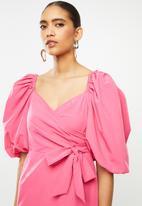 Glamorous - Mini wrap dress with volume puff sleeve - hot pink