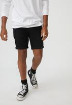 Factorie - Slim cut denim short - true black