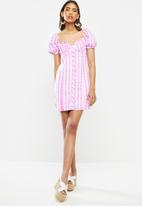 Glamorous - Gingham puff sleeve mini - pink