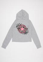 Converse - Converse girls raglan camo star hoodie - grey