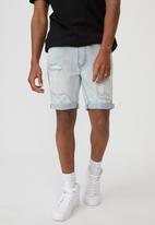 Factorie - Slim cut denim short - pale blue