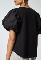 Superbalist - Combo fabric puff sleeve top - black