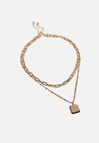 Rubi - Luxe layers lauren necklace - square tab gold