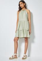 Superbalist - Texture fabric Halter neck tiered dress - sage