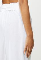 VELVET - Pleat paperbag crop pant - white