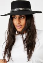 Rubi - Felicity felt boater hat - black