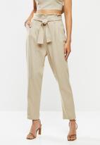 VELVET - Paperbag crop pant - beige