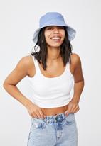 Rubi - Elly reversible wide brim bucket hat - blue gingham