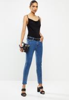VELVET - Soft cowl strappy bodysuit - black