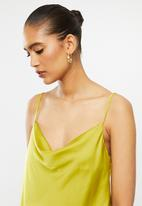 VELVET - Satin cowl neck cami - chartreuse