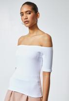 Superbalist - Fitted rib bardot top - white
