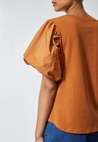 Superbalist - Puff  sleeve combo fabric top - rust