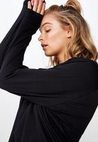 Cotton On - Active rib long sleeve top - black