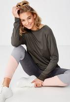 Cotton On - Active rib long sleeve top - khaki