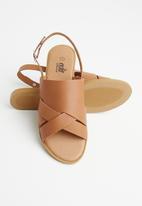 edit - Josie leather ankle strap sandal - tan