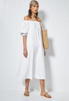 Superbalist - Linen blend off the shoulder dress - white
