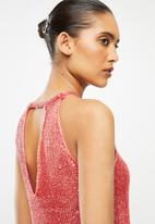 Sissy Boy - Lipsy sequin lurex fashion vest - coral
