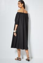 Superbalist - Linen blend off the shoulder dress - black