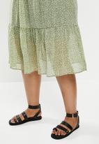 Cotton On - Curve kirsty midi sheer skirt - ingrid ditsy oil green