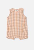Cotton On - Tobias romper - apricot sun/mini gingham