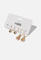 Rubi - Freedom trinket 3pk earrings - gold
