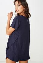 Cotton On - Sleep recovery curved T-shirt - midnight marle