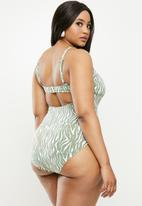 Cotton On - Curve ruched front one piece - khaki & white