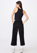 Factorie - Woven wide leg crop pant - black